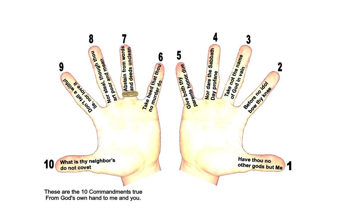 10 Commandment hands rhyme WITH NUMBERS